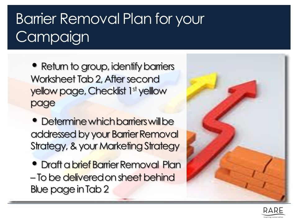 Barrier Removal Plan for your Campaign Return to group, identify barriers Worksheet Tab 2, After second yellow page, Checklist 1 st yelllow page Return to group, identify barriers Worksheet Tab 2, After second yellow page, Checklist 1 st yelllow page Determine which barriers will be addressed by your Barrier Removal Strategy, & your Marketing Strategy Determine which barriers will be addressed by your Barrier Removal Strategy, & your Marketing Strategy Draft a brief Barrier Removal Plan – To be delivered on sheet behind Blue page in Tab 2 Draft a brief Barrier Removal Plan – To be delivered on sheet behind Blue page in Tab 2