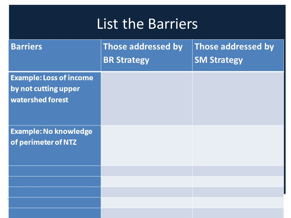 PRESENTATION TITLE OPTIONAL Barriers Those addressed by BR Strategy Those addressed by SM Strategy Example: Loss of income by not cutting upper watershed forest Example: No knowledge of perimeter of NTZ List the Barriers