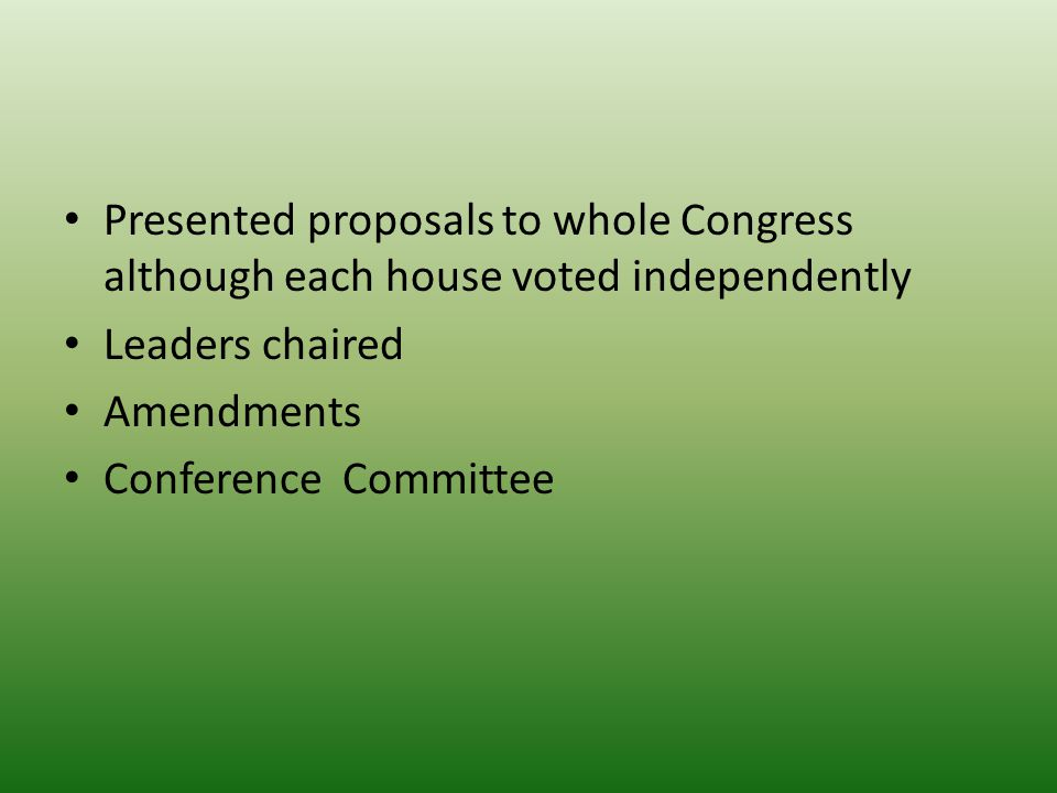 Presented proposals to whole Congress although each house voted independently Leaders chaired Amendments Conference Committee