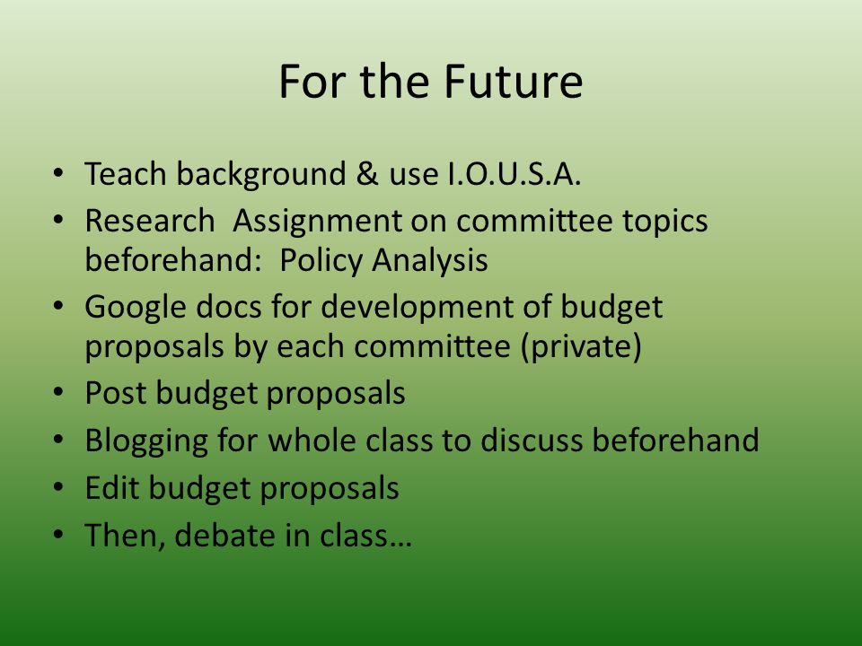For the Future Teach background & use I.O.U.S.A.