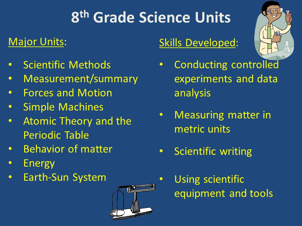 8 th Grade Science Units Major Units: Scientific Methods Measurement/summary Forces and Motion Simple Machines Atomic Theory and the Periodic Table Behavior of matter Energy Earth-Sun System Skills Developed: Conducting controlled experiments and data analysis Measuring matter in metric units Scientific writing Using scientific equipment and tools