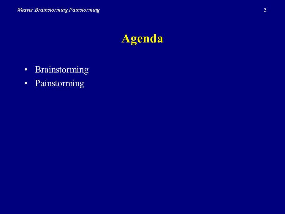 3Weaver Brainstorming Painstorming Agenda Brainstorming Painstorming