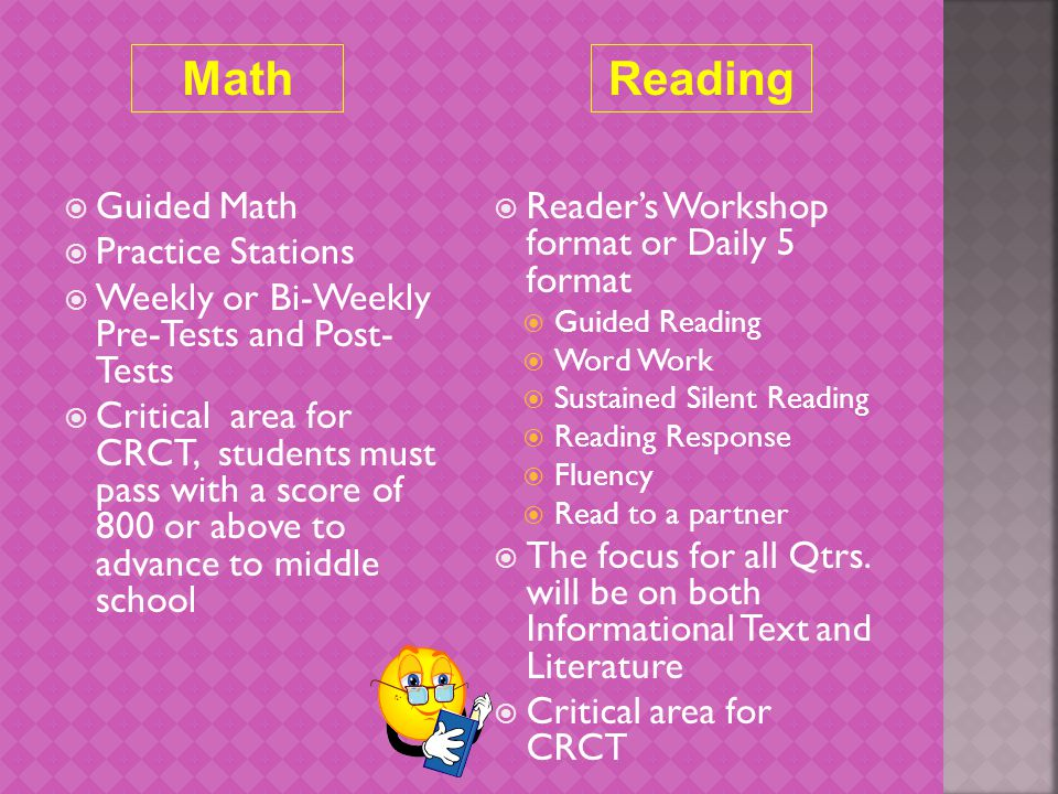 MathReading  Reader's Workshop format or Daily 5 format  Guided Reading  Word Work  Sustained Silent Reading  Reading Response  Fluency  Read to a partner  The focus for all Qtrs.
