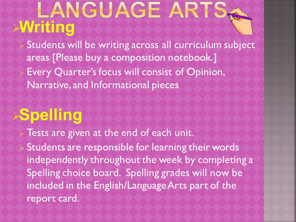  Writing  Students will be writing across all curriculum subject areas [Please buy a composition notebook.]  Every Quarter's focus will consist of