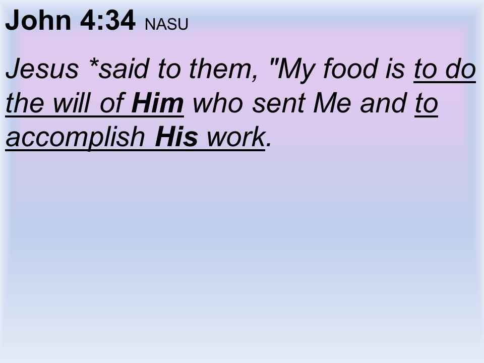 John 4:34 NASU Jesus *said to them,