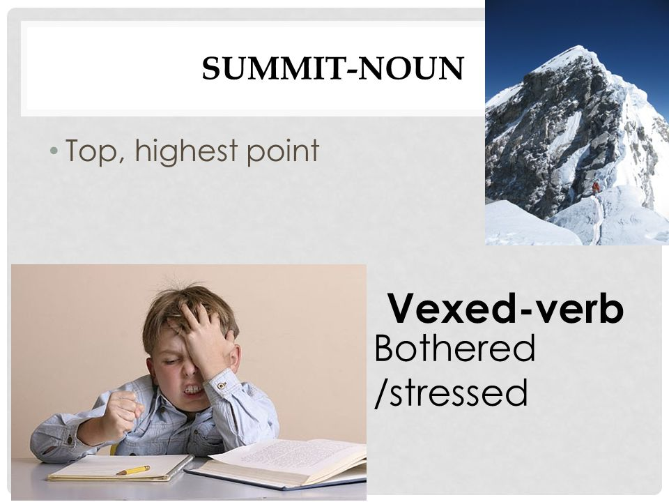 SUMMIT-NOUN Top, highest point Vexed-verb Bothered /stressed