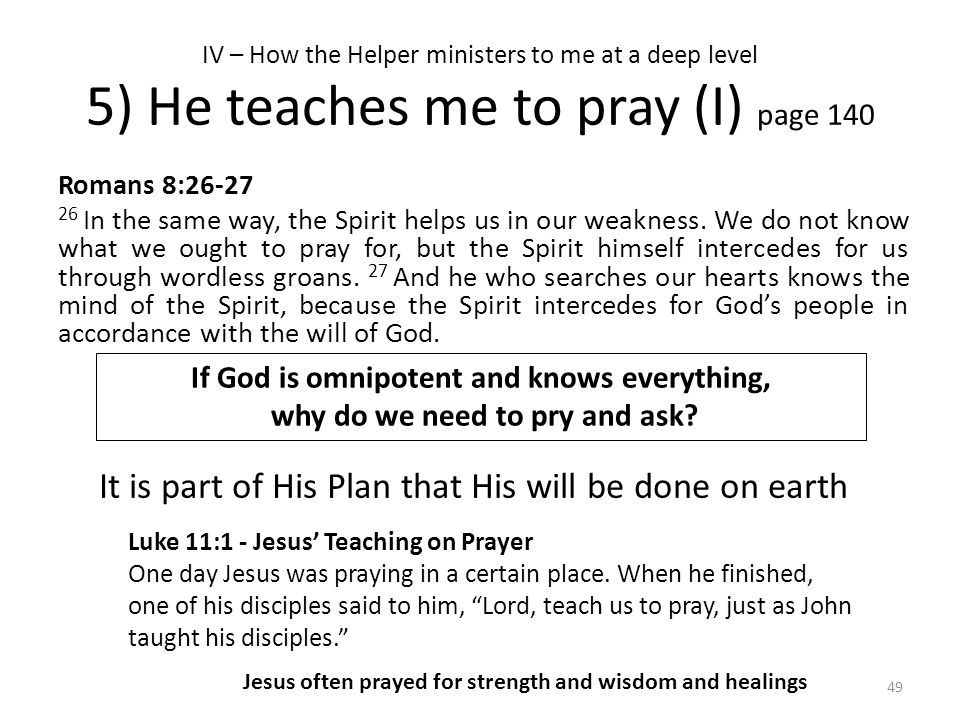 IV – How the Helper ministers to me at a deep level 5) He teaches me to pray (I) page 140 Romans 8:26-27 26 In the same way, the Spirit helps us in ou