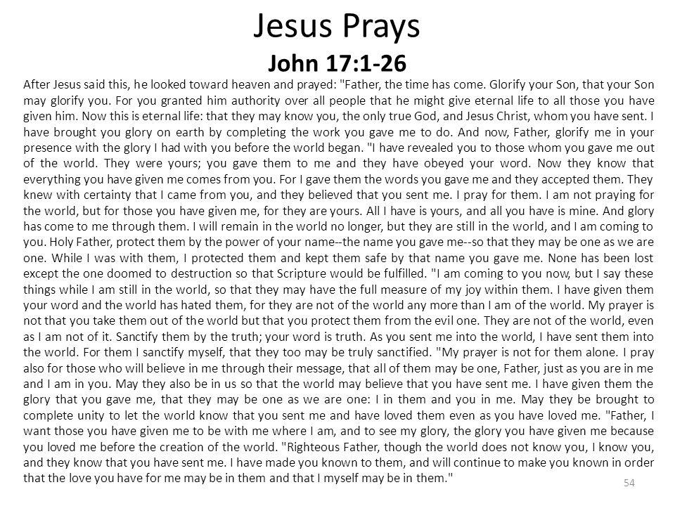 Jesus Prays John 17:1-26 After Jesus said this, he looked toward heaven and prayed: