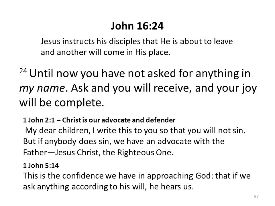 John 16:24 24 Until now you have not asked for anything in my name. Ask and you will receive, and your joy will be complete. Jesus instructs his disci