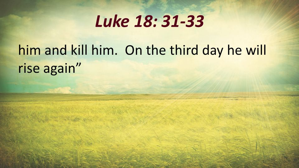 """Luke 18: 31-33 him and kill him. On the third day he will rise again"""""""