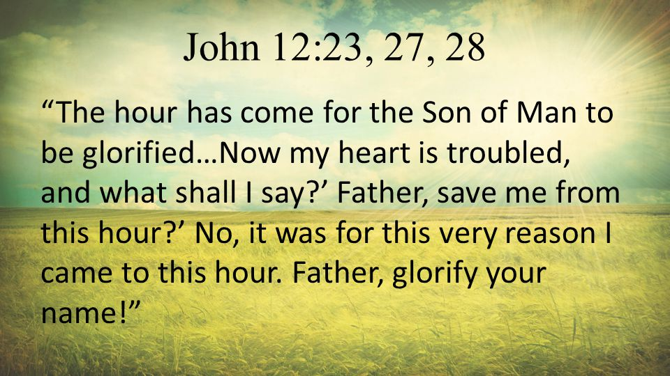 John 12:23, 27, 28 The hour has come for the Son of Man to be glorified…Now my heart is troubled, and what shall I say?' Father, save me from this hour?' No, it was for this very reason I came to this hour.