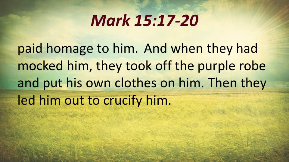 Mark 15:17-20 paid homage to him.