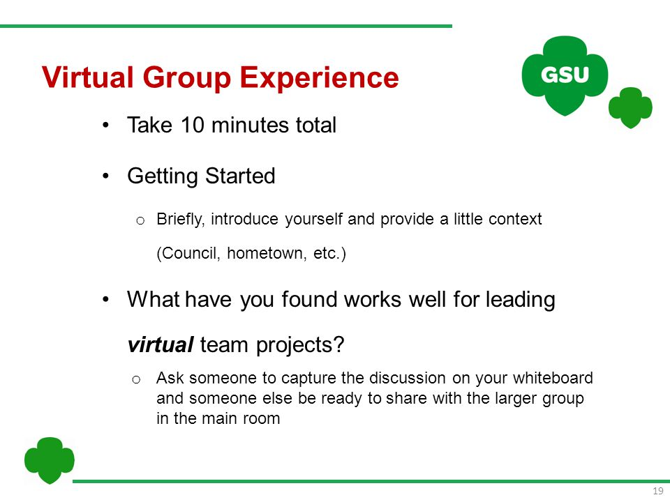 Virtual Group Experience Take 10 minutes total Getting Started o Briefly, introduce yourself and provide a little context (Council, hometown, etc.) What have you found works well for leading virtual team projects.