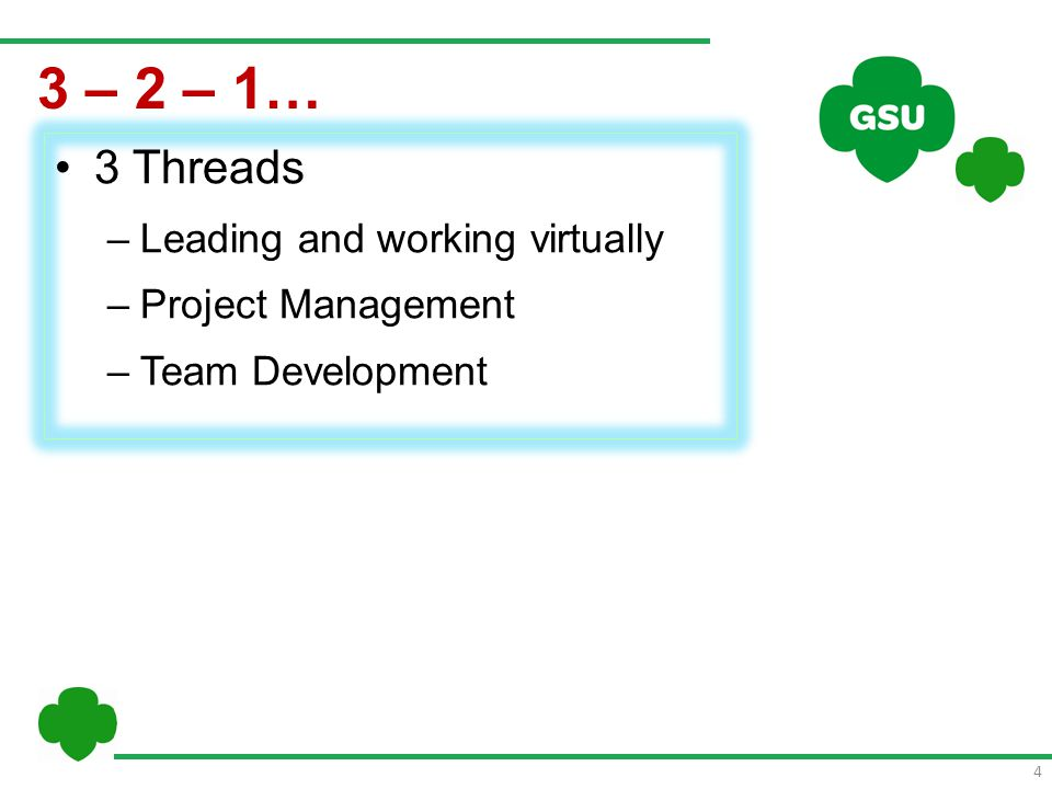 5 3 Threads –Leading and working virtually –Project Management –Team Development 3 – 2 – 1… 2 Goals –Help each other learn about working virtually on a team –Experience project management in a virtual space