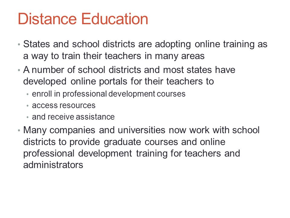 Growth of Online Schools and Programs Differentiated instruction, also referred to as differentiated learning, involves providing students with different opportunities and ways to master content A multitude of resources available on the Web can help you meet the often-demanding requirements of teaching virtually Chapter 6: The Changing Face of Education – Teaching Online 17
