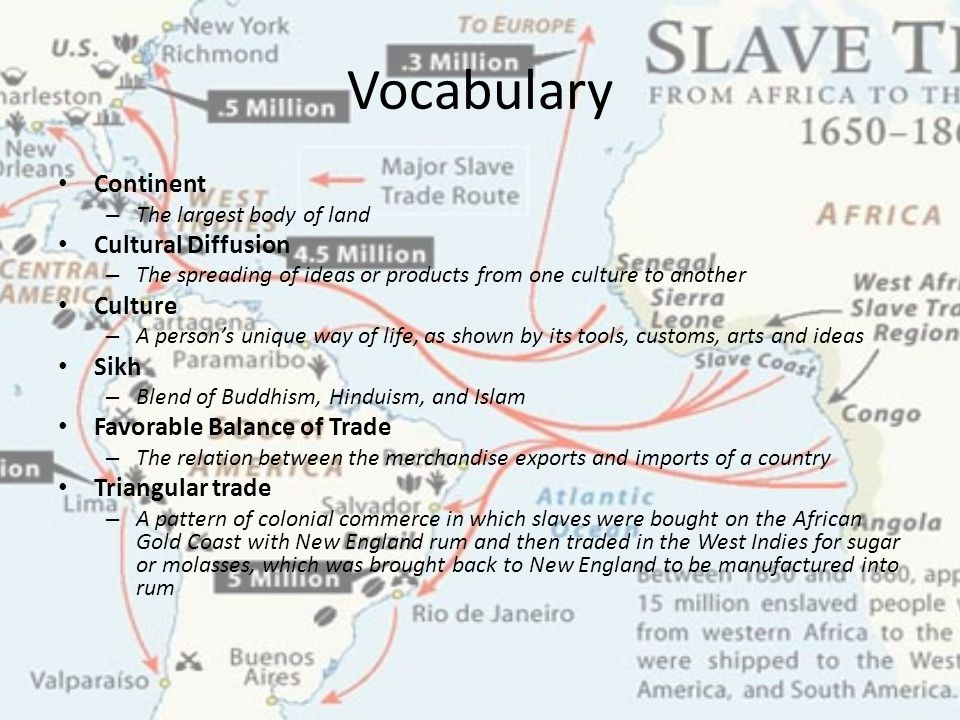 Vocabulary Continent – The largest body of land Cultural Diffusion – The spreading of ideas or products from one culture to another Culture – A person