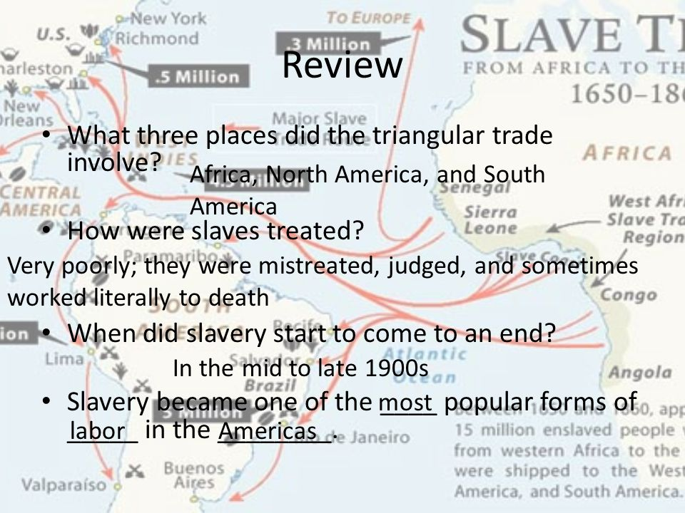 Review What three places did the triangular trade involve? How were slaves treated? When did slavery start to come to an end? Slavery became one of th