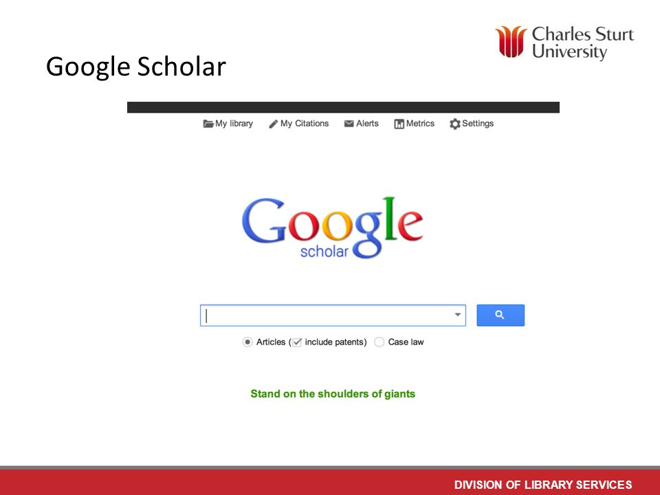 DIVISION OF LIBRARY SERVICES Google Scholar