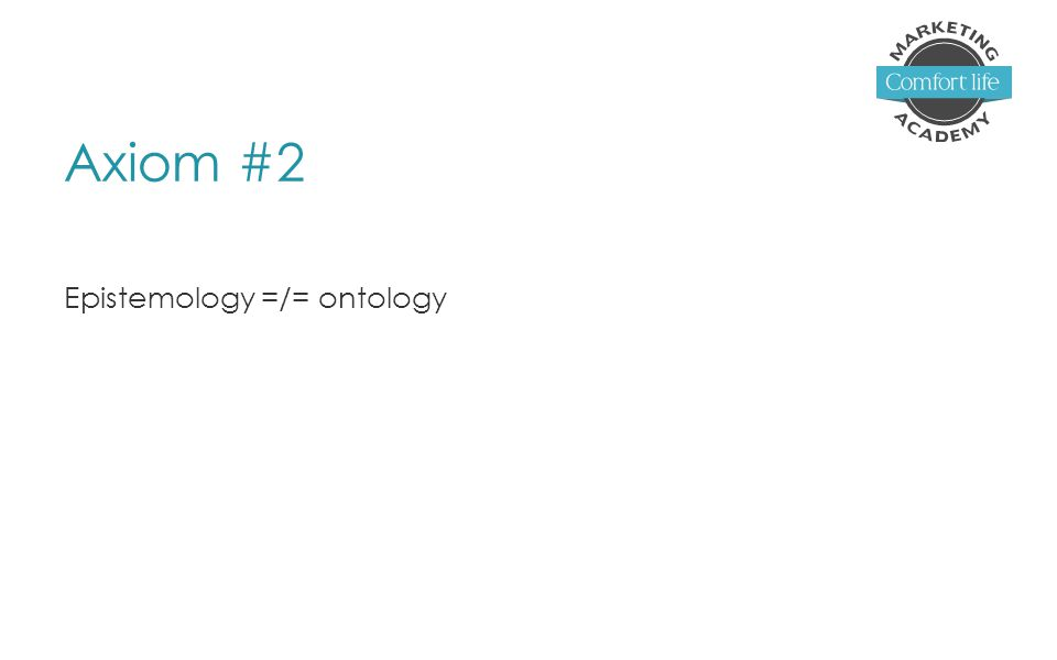 Axiom #2 Epistemology =/= ontology