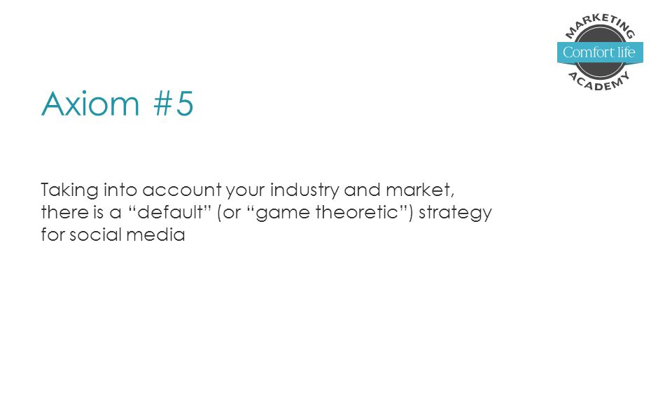 Axiom #5 Taking into account your industry and market, there is a default (or game theoretic ) strategy for social media