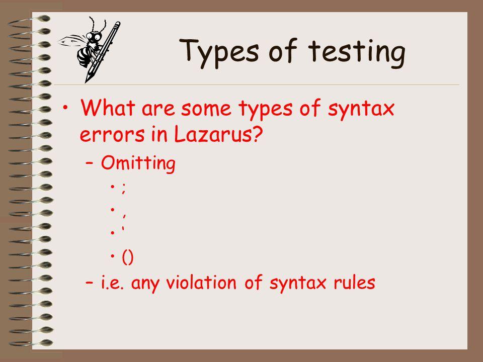 Types of testing Run the program.