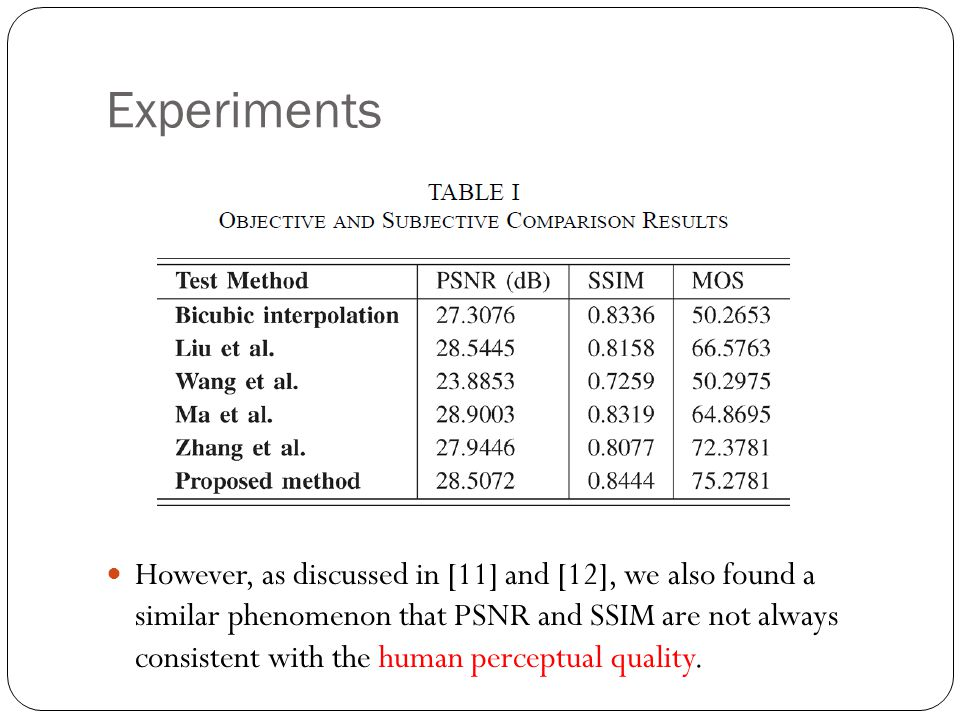 Experiments However, as discussed in [11] and [12], we also found a similar phenomenon that PSNR and SSIM are not always consistent with the human perceptual quality.