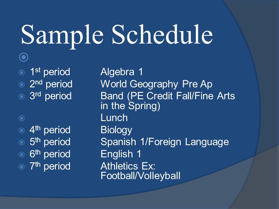 Sample Schedule  1 st periodAlgebra 1  2 nd periodWorld Geography  3 rd periodArt I  LunchLunch  4 th periodBiology  5 th periodFrench 1  6 th periodEnglish 1 Pre AP  7 th periodHealth/PE