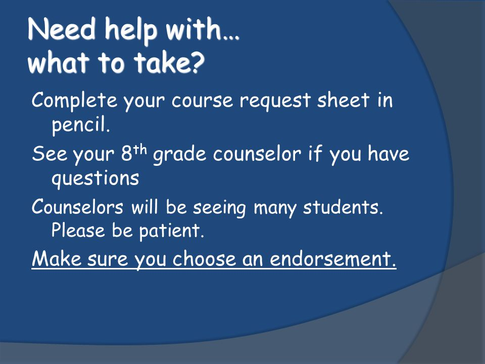 Off Campus PE  Interested students should let their counselor know if they are planning to take off campus PE.