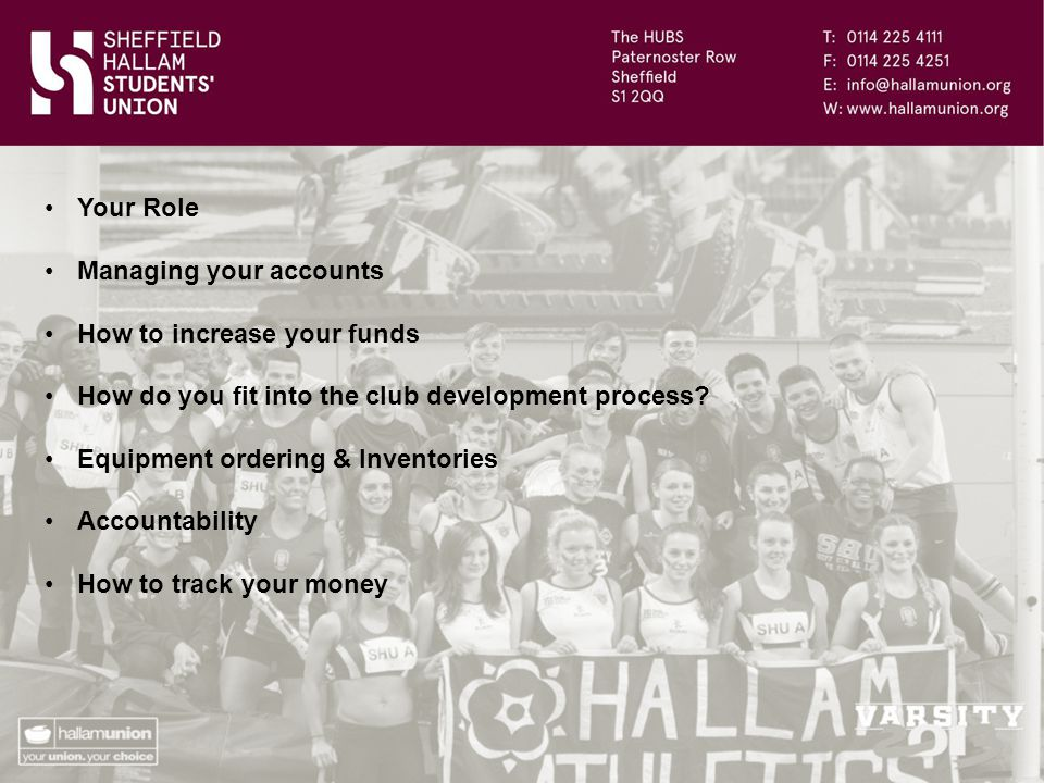 Your Role Managing your accounts How to increase your funds How do you fit into the club development process.