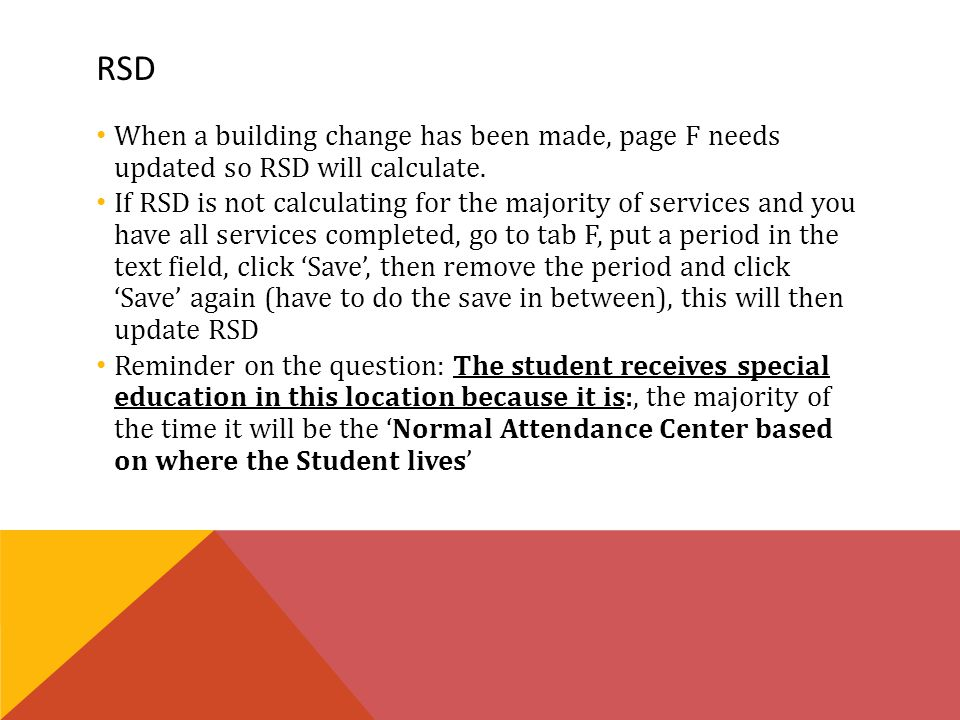 RSD When a building change has been made, page F needs updated so RSD will calculate.