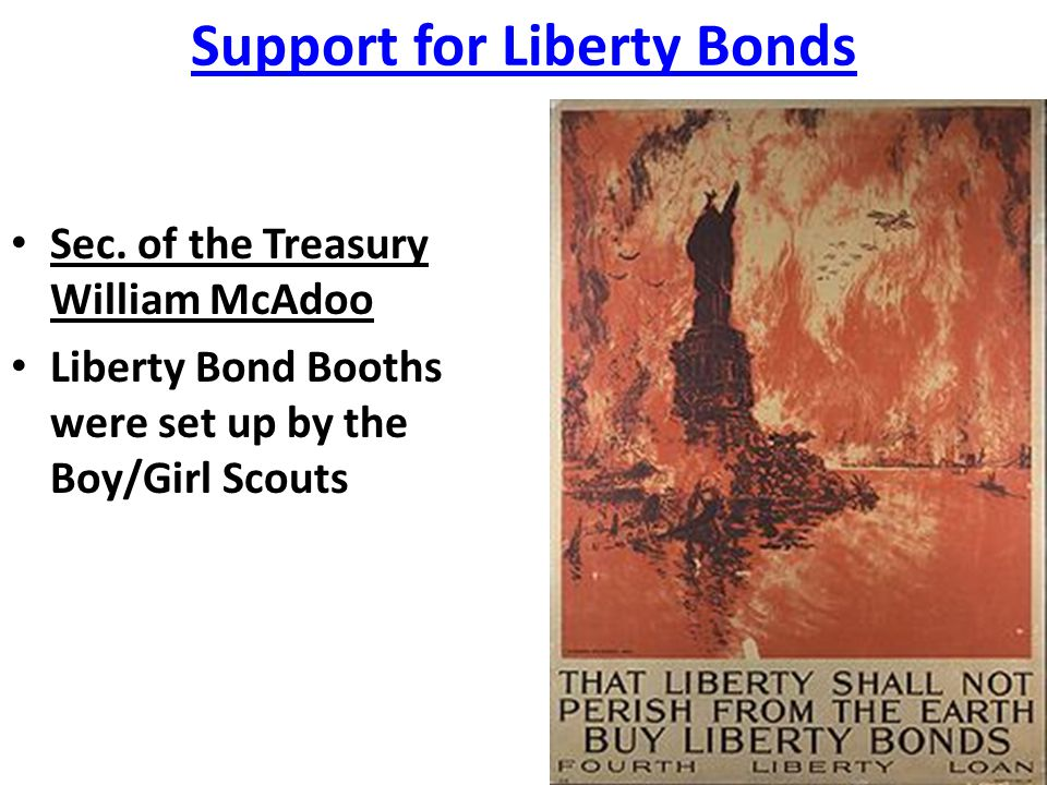 Support for Liberty Bonds Sec. of the Treasury William McAdoo Liberty Bond Booths were set up by the Boy/Girl Scouts