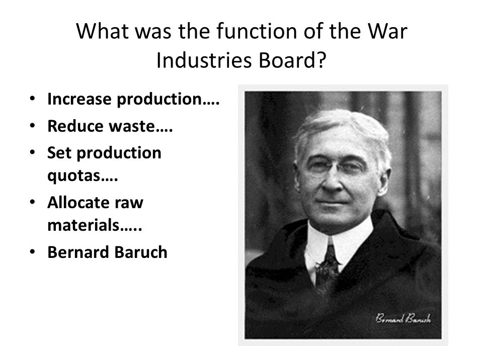 What was the function of the War Industries Board.