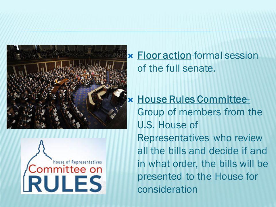  Floor action-formal session of the full senate.