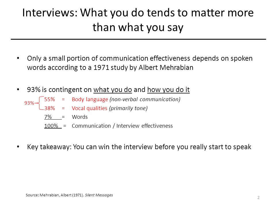 Interviews: What you do tends to matter more than what you say Only a small portion of communication effectiveness depends on spoken words according to a 1971 study by Albert Mehrabian 93% is contingent on what you do and how you do it 55%=Body language (non-verbal communication) 38%=Vocal qualities (primarily tone) 7%=Words 100% =Communication / Interview effectiveness Key takeaway: You can win the interview before you really start to speak 93% Source: Mehrabian, Albert (1971).