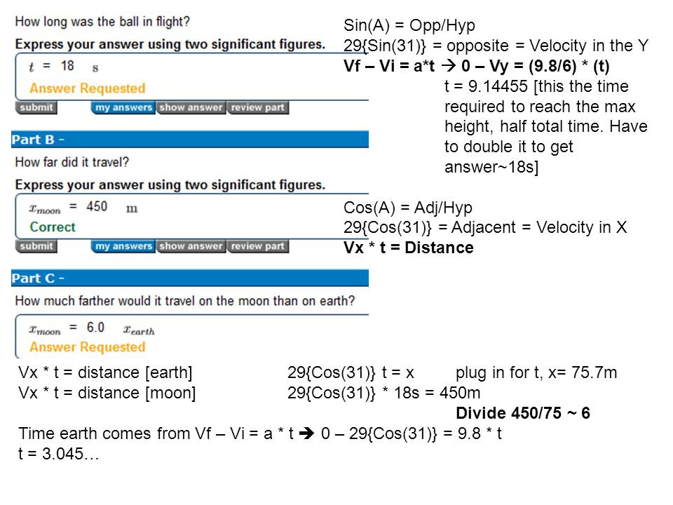 Sin(A) = Opp/Hyp 29{Sin(31)} = opposite = Velocity in the Y Vf – Vi = a*t  0 – Vy = (9.8/6) * (t) t = 9.14455 [this the time required to reach the ma