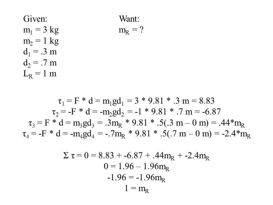 τ 1 = F * d = m 1 gd 1 = 3 * 9.81 *.3 m = 8.83 τ 2 = -F * d = -m 2 gd 2 = -1 * 9.81 *.7 m = -6.87 τ 3 = F * d = m 3 gd 3 =.3m R * 9.81 *.5(.3 m – 0 m)