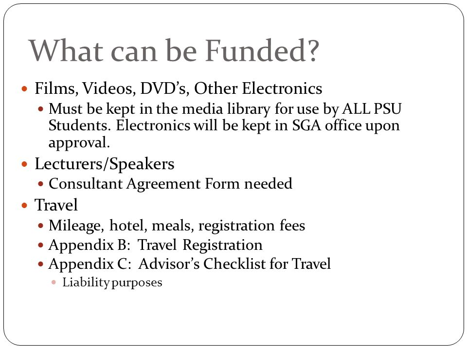 What can be Funded.
