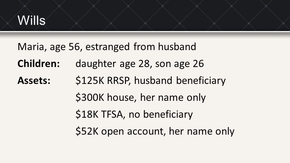 Wills Maria, age 56, estranged from husband Children: daughter age 28, son age 26 Assets: $125K RRSP, husband beneficiary $300K house, her name only $