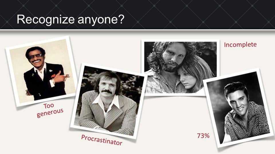 Procrastinator Too generous Incomplete 73% Recognize anyone