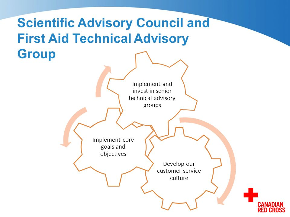 Scientific Advisory Council and First Aid Technical Advisory Group Develop our customer service culture Implement core goals and objectives Implement