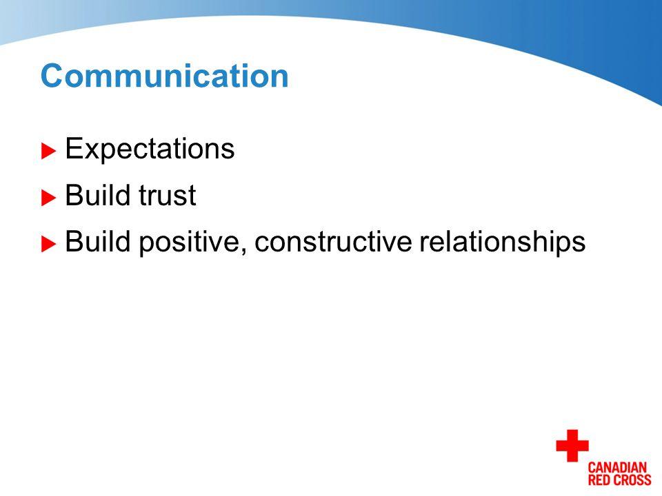 Communication  Expectations  Build trust  Build positive, constructive relationships