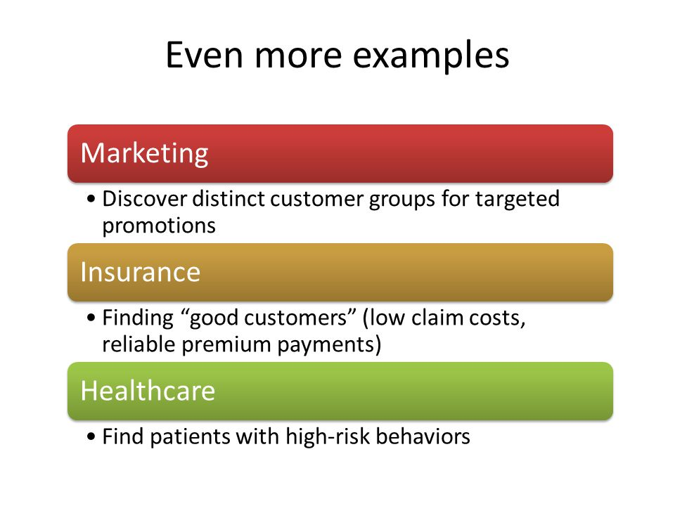 Even more examples Marketing Discover distinct customer groups for targeted promotions Insurance Finding good customers (low claim costs, reliable premium payments) Healthcare Find patients with high-risk behaviors