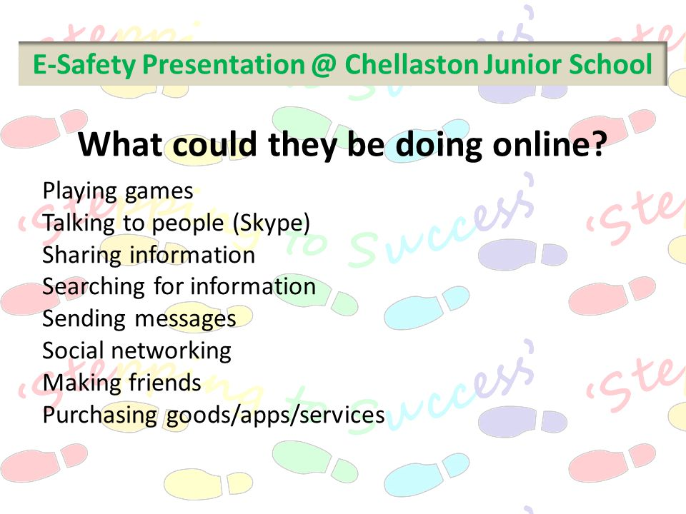 E-Safety Presentation @ Chellaston Junior School Playing games Talking to people (Skype) Sharing information Searching for information Sending message