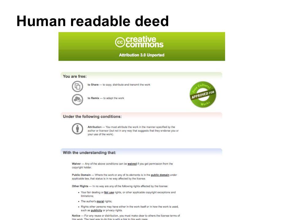 Human readable deed