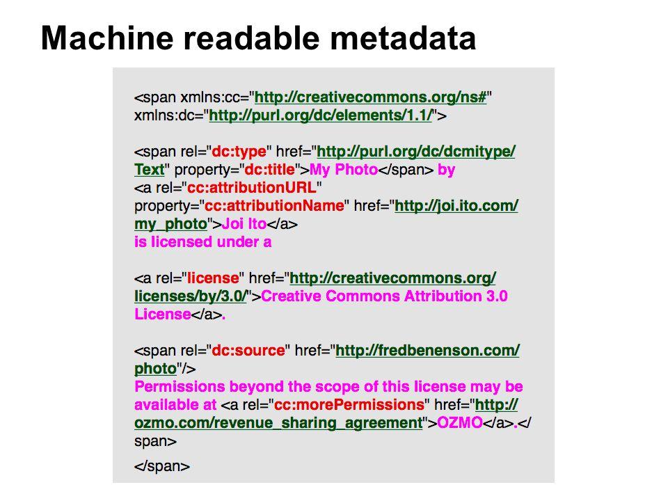 Machine readable metadata