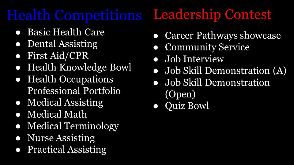 Health Competitions ● Basic Health Care ● Dental Assisting ● First Aid/CPR ● Health Knowledge Bowl ● Health Occupations Professional Portfolio ● Medical Assisting ● Medical Math ● Medical Terminology ● Nurse Assisting ● Practical Assisting Leadership Contest ●Career Pathways showcase ●Community Service ●Job Interview ●Job Skill Demonstration (A) ●Job Skill Demonstration (Open) ●Quiz Bowl