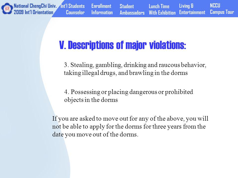 V. Descriptions of major violations: 3.