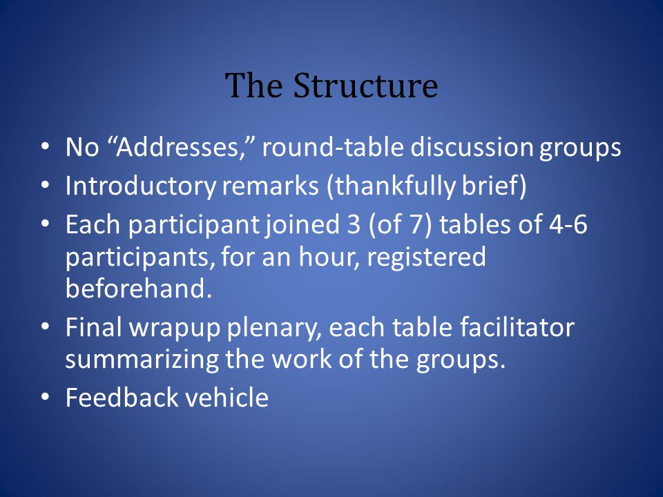 The Structure No Addresses, round-table discussion groups Introductory remarks (thankfully brief) Each participant joined 3 (of 7) tables of 4-6 participants, for an hour, registered beforehand.