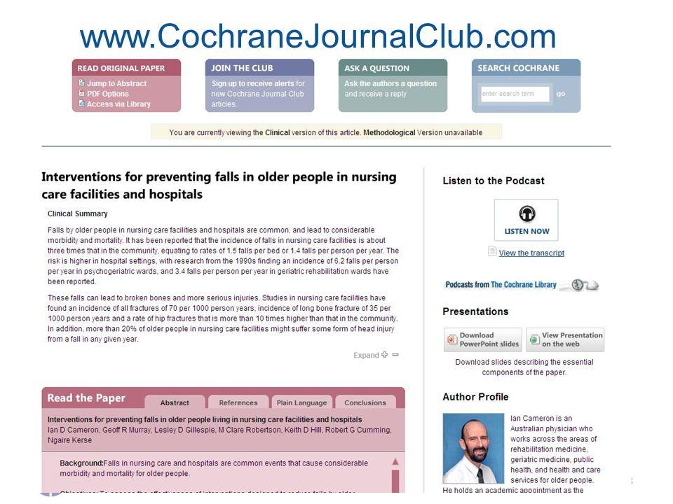 8 www.CochraneJournalClub.com