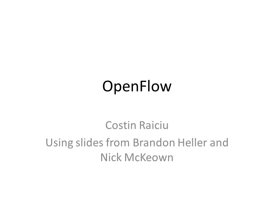 OpenFlow Messages: at runtime